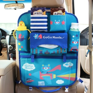 Bear - Cute Cartoon Pattern Car Back Seat Pocket Organizer Multi-pocket Hanging Bag Foldable Storage Collector