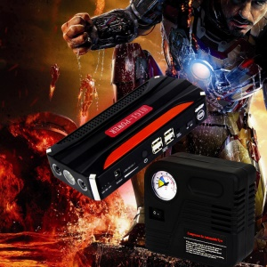 CY-16 12000mAh Emergency Car Jump Starter 4-USB Power Bank with Flashlight Survival Hammer - EU Plug