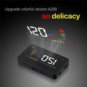 A200 Car Head Up Display HUD Vehicle OBD II Car RPM Driving Speed Warning Auto Electronic Monitor - Black
