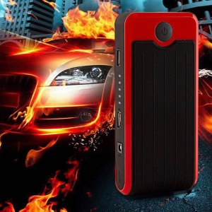CY-05 10000mAh 12V Emergency Car Jump Starter Battery Booster 2-USB Power Bank with Flashlight - EU Plug