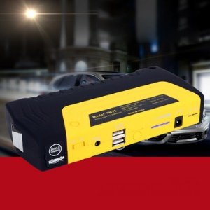 CY-08 12000mAh Emergency Car Jump Starter Power Bank with Flashlight Survival Hammer - EU Plug / Yellow