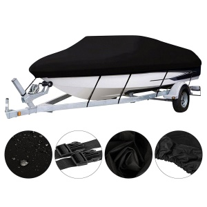 420D Oxford Cloth Waterproof UV Protected Trailerable V-hull Jumbo Boat Speedboat Cover - Size: 14-16ft (530x290cm) / Black
