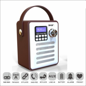 Portable DAB-H6 Wood DAB Digital Radio Player Bluetooth MP3 Player Support TF Card and Flash Disk