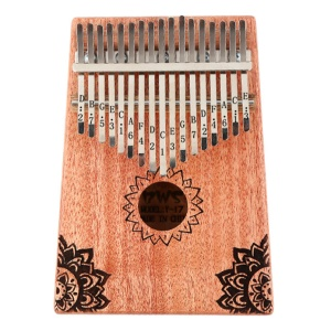 17 Key African Mahogany Wooden Kalimba Thumb Piano Finger Percussion Instrument with Accessories - Peach/Flower