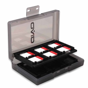 24 Slots Hard Plastic Memory Game Cards Storage Carry Case Box for Nintendo Switch - Black