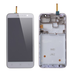 OEM LCD Screen and Digitizer Assembly + Frame Replace Part for Lenovo Golden Warrior A8 A808T A806 - White