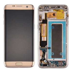LCD Screen and Digitizer Assembly + Frame + Small Parts for Samsung Galaxy S7 edge G935 - Gold