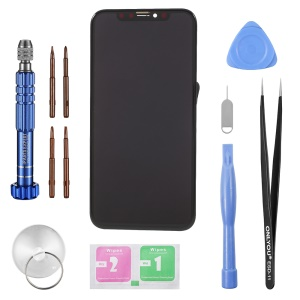 For iPhone X OLED Screen and Digitizer Assembly (Made by China Manufacturer, OLED) + Disassemble Repair Opening Tool Kit - Black
