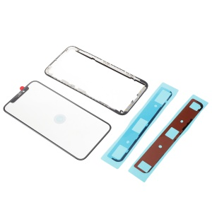 For iPhone X Front Screen Glass Lens + LCD Bracket Frame + LCD Bracket Adhesive Stickers