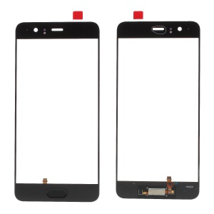 Black - For Huawei P10 Plus OEM Outer Front Screen Glass Lens with Fingerprint Button Flex Cable