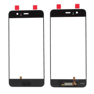 Black - For Huawei P10 OEM Outer Front Screen Glass Lens Replacement with Fingerprint Button Flex Cable