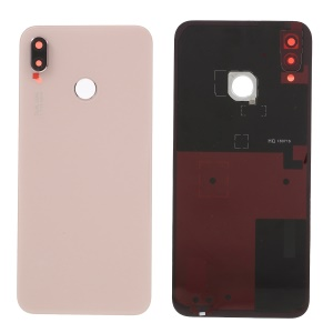 OEM Battery Door Housing with Adhesive Sticker + Camera Lens Ring Cover for Huawei P20 Lite / Nova 3e - Pink