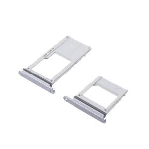 2PCS OEM Dual SIM MicroSD Card Tray Holder Replacement for Samsung Galaxy A8 (2018) - Silver