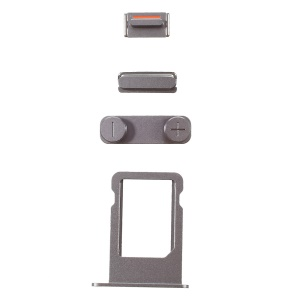 For iPhone SE 5s 5 OEM Side Button Set (Mute / Power / Volume Buttons + Sim Card Tray) - Grey