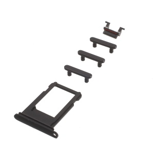 OEM for iPhone 7 4.7 Side Button Set (Mute / Power / Volume Buttons + Sim Card Tray) - Jet Black