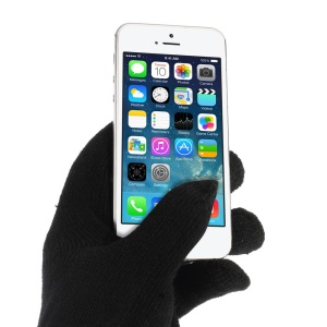 Black iGlove Bluetooth Talking Touch Gloves with Microphone & Conductive Fingers
