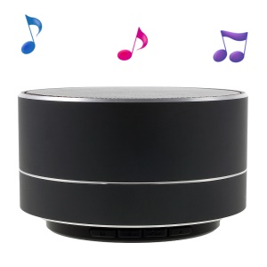 A10 Metal Skin Stereo Bluetooth Hands-free Speaker with LED Lights Support TF Card - Black