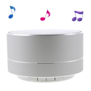 A10 Metal Skin Stereo Bluetooth Hands-free Speaker with LED Lights Support TF Card - Silver