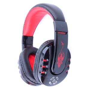 VYKON V8 Mega Bass Bluetooth Over-ear Headphone Headset with Microphone - Black / Red