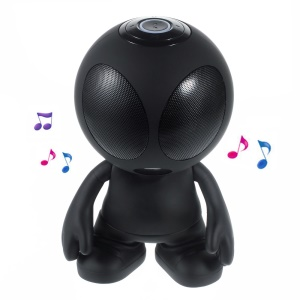 Alien Shape Portable Bluetooth Speaker Support Line-in/TF Card/FM for iPhone - Black