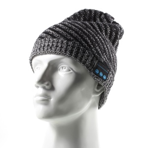 Bluetooth Headphone Winter Warm Twill Knitted Hat with Mic - Black / White