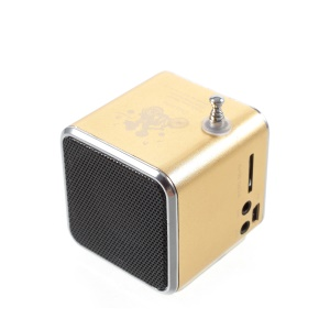 TD-V26 Portable Mini Cubic Shape LCD Screen Display FM Radio Music Speaker - Gold