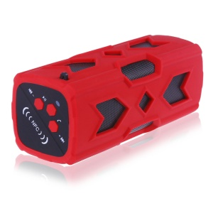 Portable Waterproof Stereo Wireless Bluetooth 4.0 Speaker Subwoofer with Built-in Mic/3600mAh Power Bank/NFC Function Handsfree Call - Red