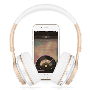 PICUN BT08 Over-ear Wireless Bluetooth Stereo Headphone Headset with Microphone Support FM Radio - White / Gold Color