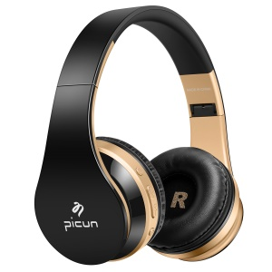 PICUN P16 Folding Mega Bass Wireless Bluetooth Headset with Mic for iPhone 7 Samsung Note 8 etc. - Black + Gold Color