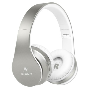 PICUN P16 Mega Bass Bluetooth Headphone Support Hands-free Calls for iPhone 7 Samsung Note 8 etc. - Silver Color + White
