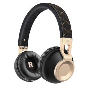 PICUN P8 Over-ear Wireless Bluetooth Stereo Headphone Headset with Microphone - Black / Gold Color