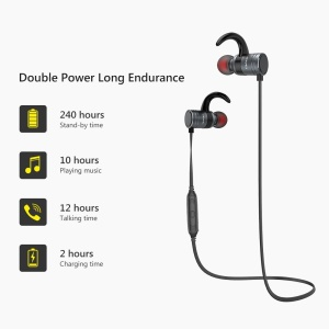 AWEI AK7 Intelligent Magnetic Control Wireless Bluetooth Headset Headphone with Microphone - Grey
