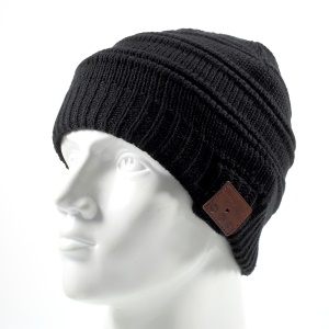 Warm Winter Outdoor Knitted Hat with Built-in Wireless Bluetooth Headphone & Microphone - Black