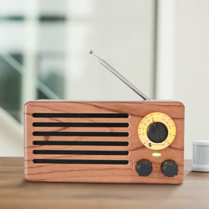 NR-3013 Mini Wood Texture Retro FM Radio Wireless Bluetooth Speaker - Rose Wood