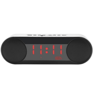 NR3014 Wireless Bluetooth 2.1 Speaker with Digital LED Display Clock Support Aux-in/FM Radio/TF Card - Silver