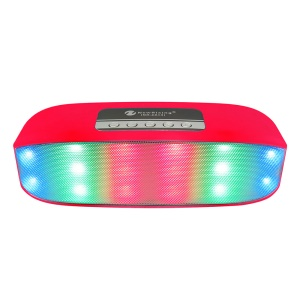 NR2014 LED Color Light Double Speaker Wireless Bluetooth Speaker Aux-in with Mic - Red