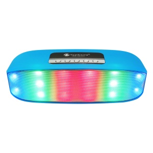 NR2014 Portable LED Color Light Double Speaker Wireless Bluetooth Speaker with Mic - Blue