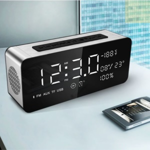"A10 12W Radio Despertador Altavoz Bluetooth Con Termómetro HD Sound Digital 9,4 \""pantalla LED Con Puertos Aux TF USB"
