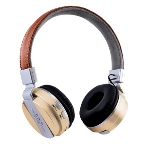 BTH-858 Foldable Over-ear Bluetooth 4.2 Headphone with TF Card Slot/Aux-in - Gold