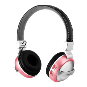 BTH-868 Foldable Over-ear Bluetooth 4.2 Earphone with TF Card Slot/Aux-in - Pink