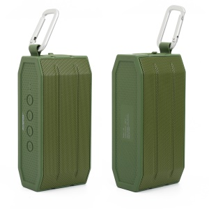 MONPOS H2 IPX6 Waterproof Double Speakers Wireless Bluetooth Speaker Support Aux-in - Army Green