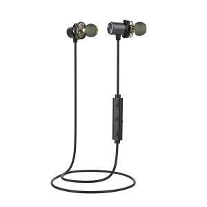 AWEI X650BL Double Driver IPX5 Sports Wireless Bluetooth V4.0 In-ear Headphone - Grey