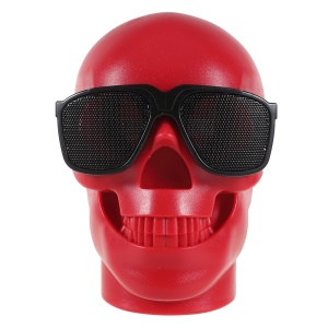 Chic Skull Shape Wireless Bluetooth Speaker Support TF Card - Red