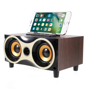 Retro Wooden Bluetooth Speaker with Phone Stand Built-in Mic Support TF Card/U Disk/Aux Input - Coffee