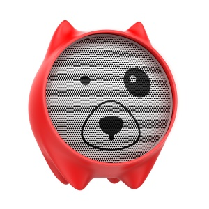 BASEUS Q E06 Lovely Dog Shaped Bluetooth Wireless Speaker Support 3.5mm Aux-in for iPhone Samsung Huawei Etc. - Red