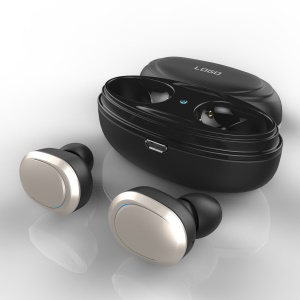 T12 Portable In-ear TWS Wireless Bluetooth Binaural Earphone with Charging Case - Silver