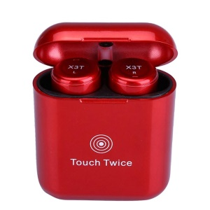 X3T Compact TWS Bluetooth CSR 4.2 Wireless Touch Control HIFI Stereo Headset with Charging Box - Red