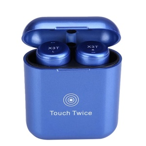 X3T Invisible Twins Bluetooth CSR 4.2 HIFI Wireless Touch Control Stereo Earphones with Charging Box - Baby Blue