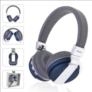 Portable Foldable Stereo Over-ear Bluetooth 4.0 Earphone Support TF Card/FM/Aux-in - Blue