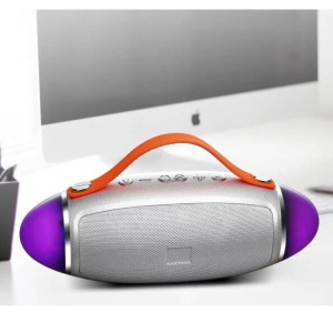 H7 Rugby Shape LED Double Speakers Wireless Bluetooth Speaker Support TF Card/Aux-in - Silver